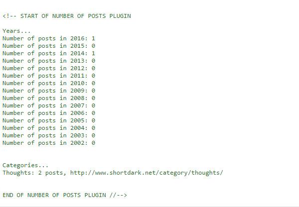 Wordpress Plugin: Post Volume Stats Screenshot, 2016-07-03